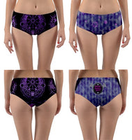 Batgic Circle Violet Reversable Mid-Rise Swim Bottoms