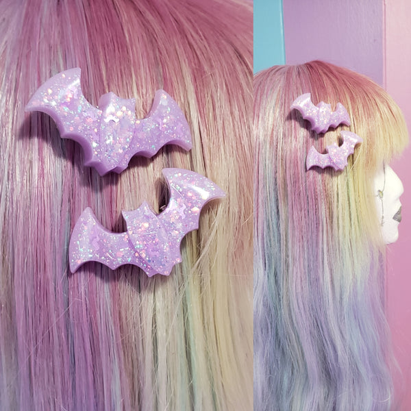 One pair lavender bat clips