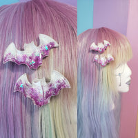 One pair pink stars bat clips