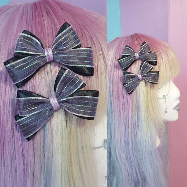 MTO One Pair Black x Lavender Iridescent Hair Bows