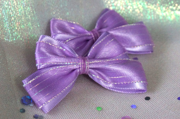 MTO One Pair Lavender Iridescent Hair Bows
