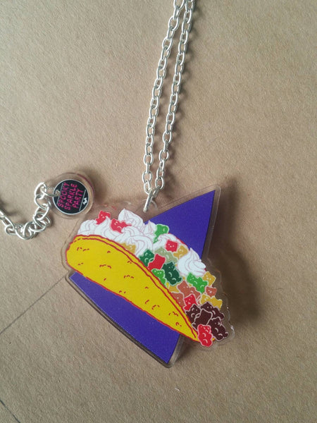Taco Bear Party Necklace Flat Tone