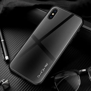 Lukmall Texture Mirror Tempered Glass Phone Case
