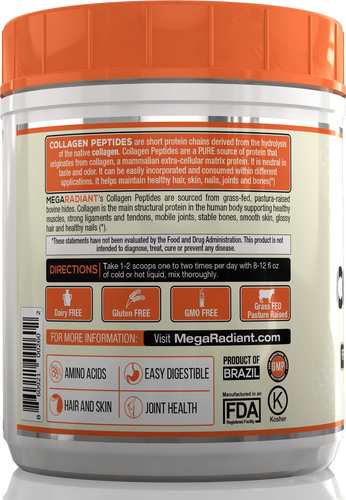MegaRadiant® Pure Collagen Peptides - Grass-Fed - Pasture Raised - Unflavored - 16oz(1Lb)454g - MegaRadiant® Collagen Peptides