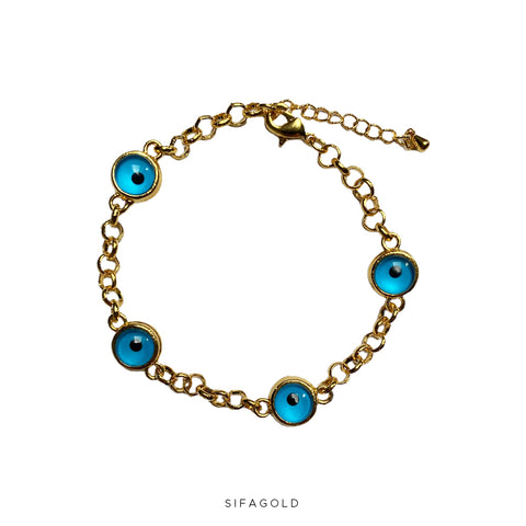 Blue Eye Love Armband 22k Goldplated