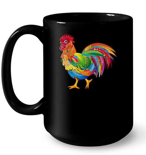 An Ornately Decorated Rooster Mug