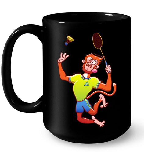 Red Monkey Playing Badminton Mug