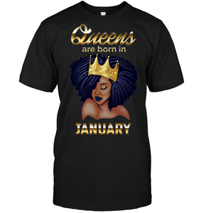 Queens Are Born In January Birthday T-Shirt for Black Women - Pigstee