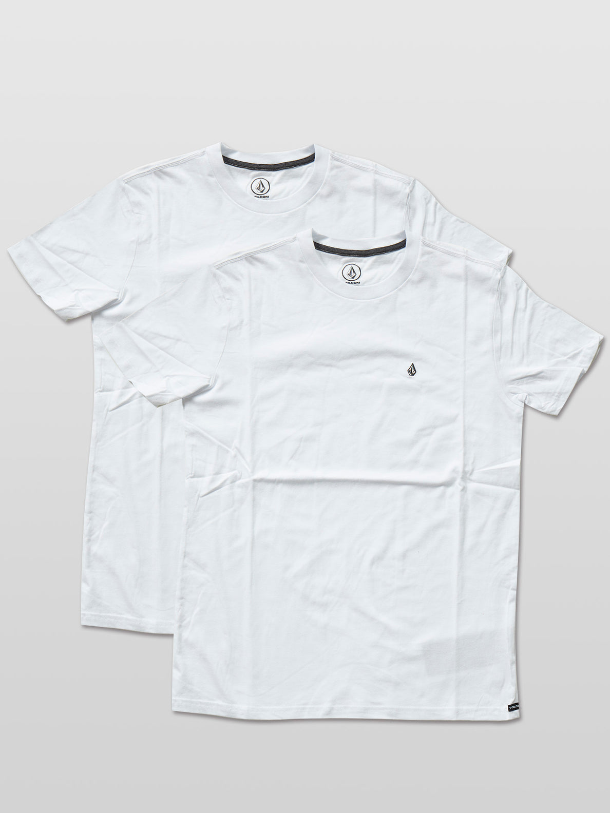 Solid Emb Short Sleeve 2Pack - White