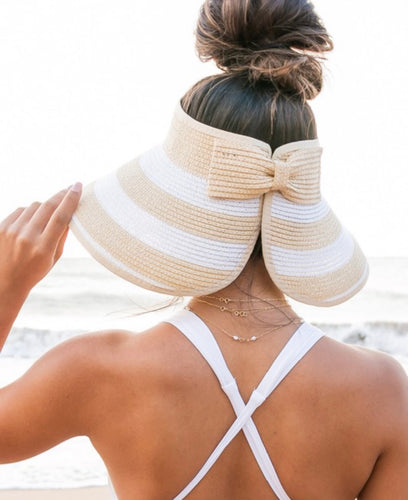 Straw White and Beige Beach Hat