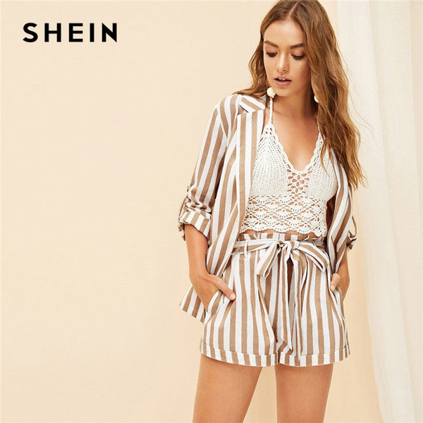3acc5ea0b6a5 SHEIN Khaki Notched Collar Vertical-Stripe Roll Up Sleeve Blazer or Belted  Shorts Set Spring