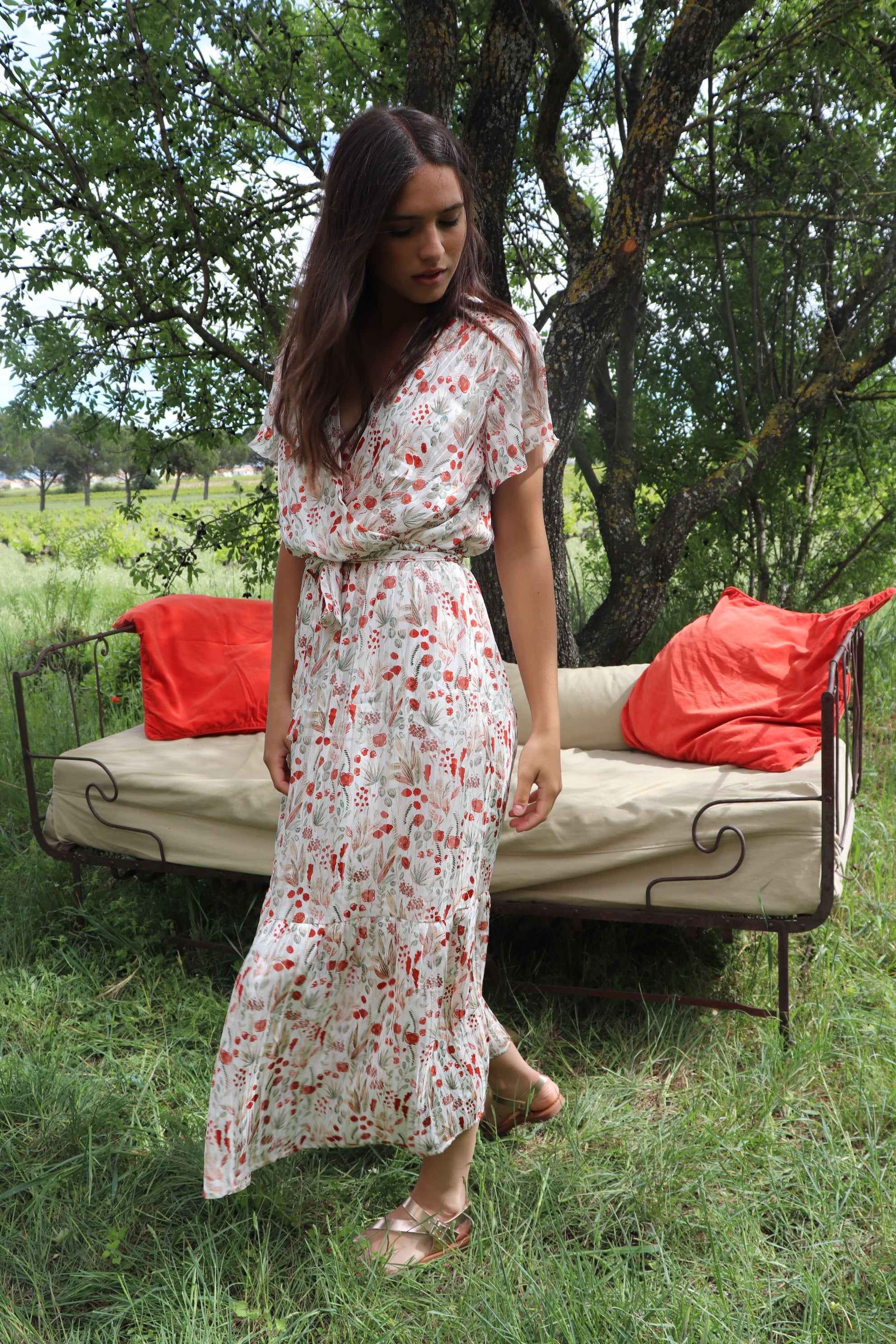 ROBE WHITE BERRIES LONGUE