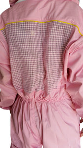 OZ ARMOUR Pink Poly Cotton Semi Ventilated  Beekeeping Suit With Round Hat Veil