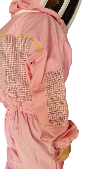 OZ ARMOUR Pink Poly Cotton Semi Ventilated  Beekeeping Suit With Round Hat Veil,Beekeeping,beekeeping gear,oz armour