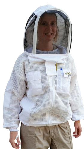 OZ ARMOUR 3 Layer Mesh Ventilated Beekeeping Jacket With Fencing Veil