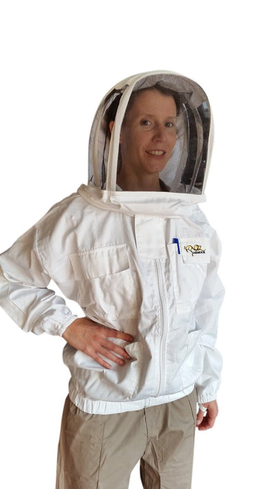 OZ ARMOUR Poly Cotton Beekeeping Jacket With Fencing Veil,Beekeeping,beekeeping gear,oz armour