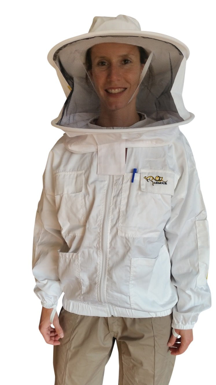 OZ ARMOUR Poly Cotton Beekeeping Jacket With Round Hat Veil,Beekeeping,beekeeping gear,oz armour