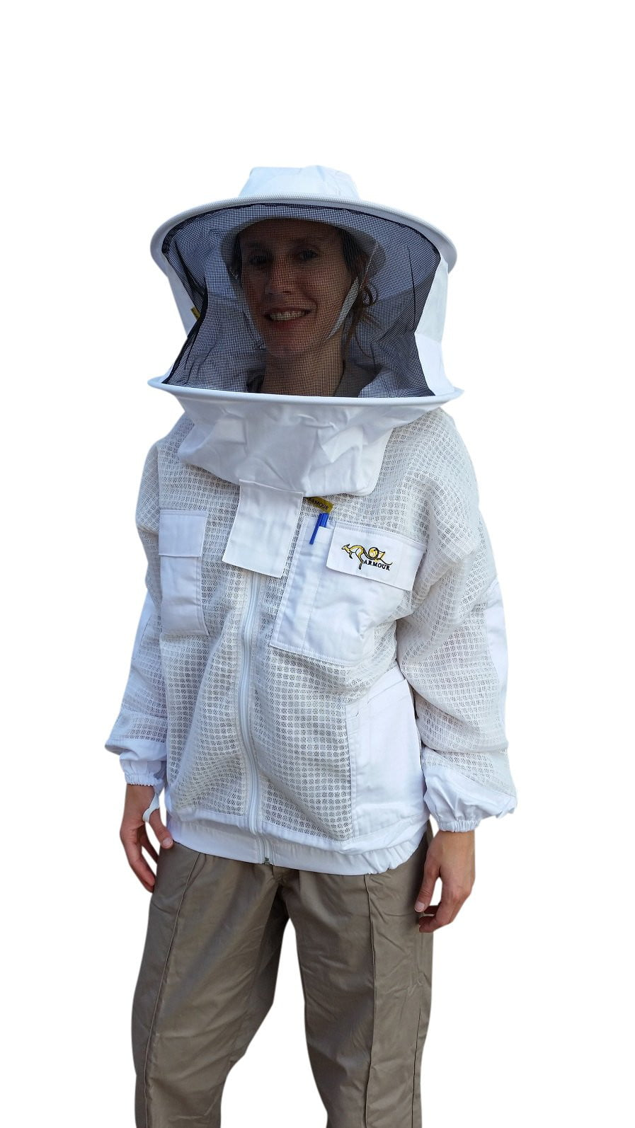 OZ ARMOUR 3 Layer Mesh Ventilated Beekeeping Jacket With Round Hat Veil,Beekeeping,beekeeping gear,oz armour