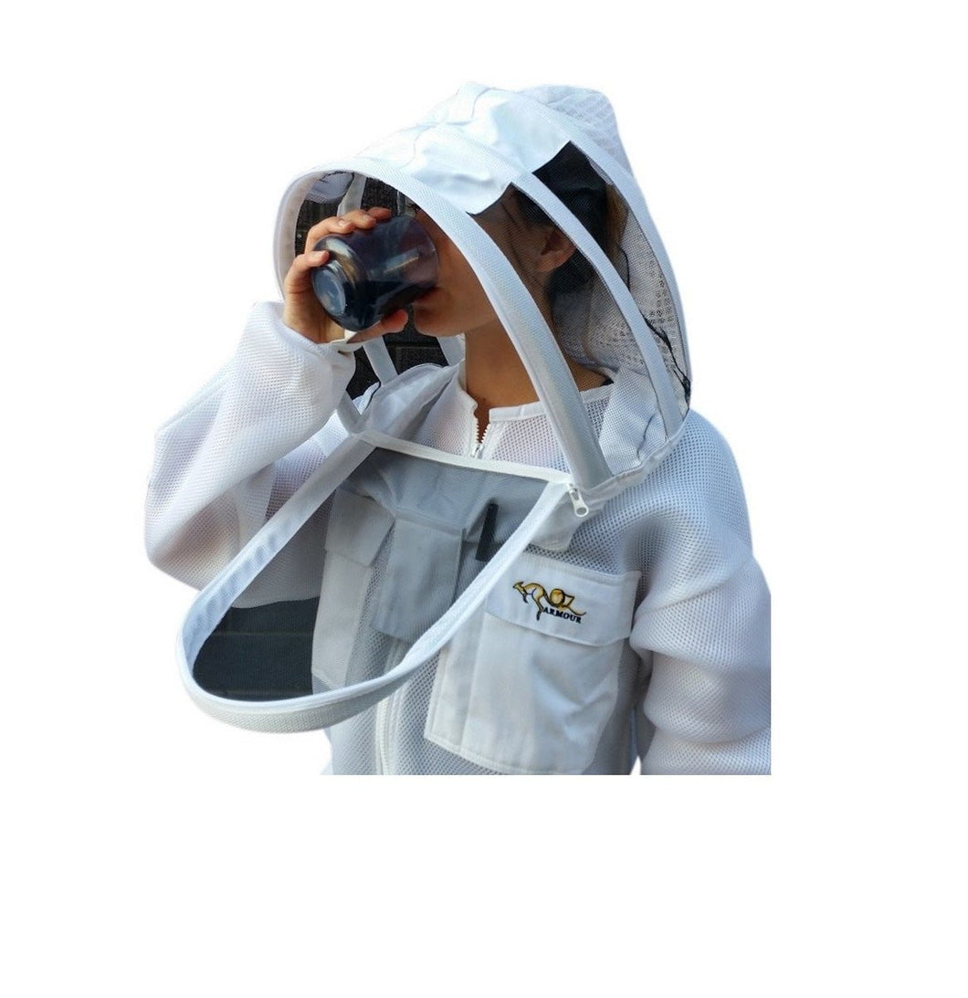 OZ ARMOUR Double  Layer Mesh Ventilated Beekeeping Jacket With Fencing Veil