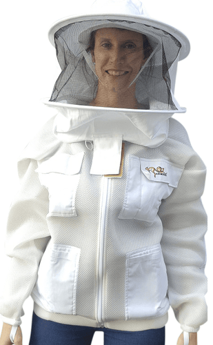 OZ ARMOUR Double Layer Mesh Ventilated Beekeeping Jacket With Round Hat Veil
