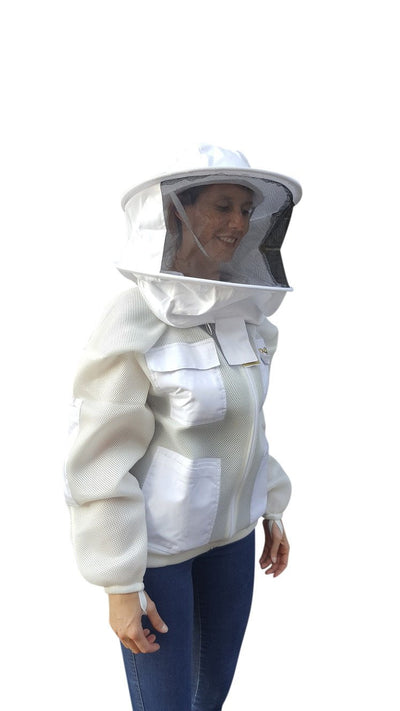 OZ ARMOUR Double Layer Mesh Ventilated Beekeeping Jacket With Round Hat Veil,Beekeeping,beekeeping gear,oz armour