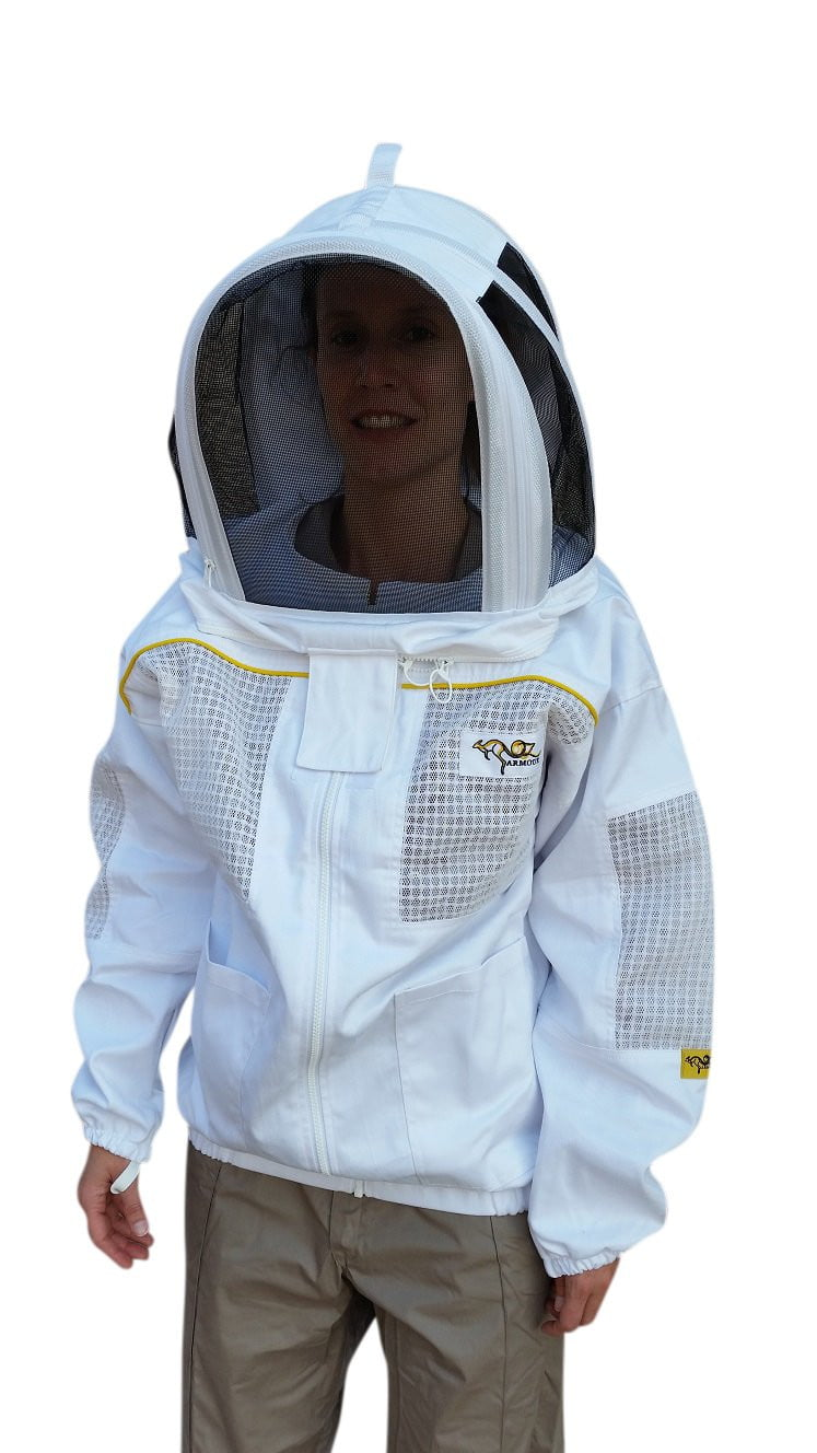OZ ARMOUR Poly Cotton Semi Ventilated Beekeeping Jacket With Fencing Veil
