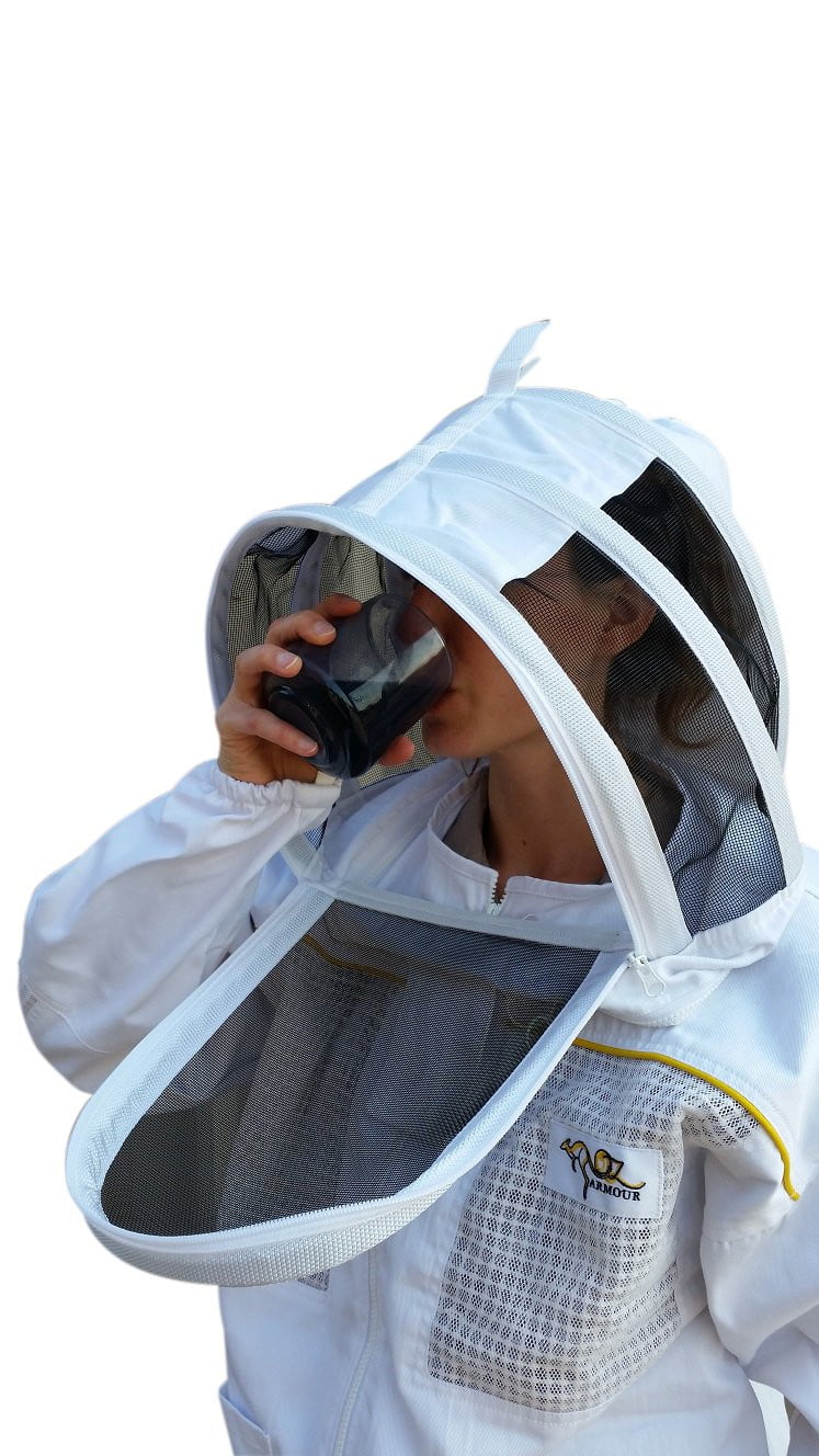OZ ARMOUR Poly Cotton Semi Ventilated Beekeeping Jacket With Fencing Veil,Beekeeping,beekeeping gear,oz armour