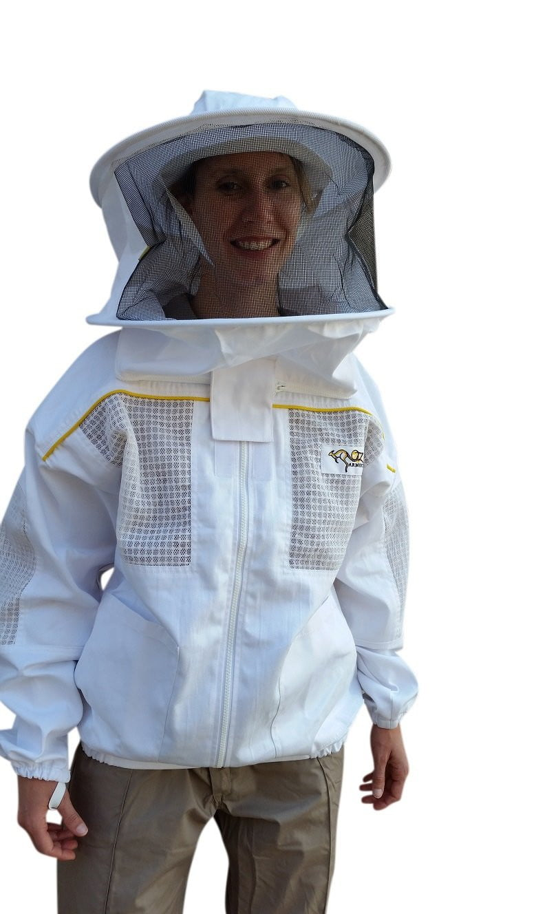 OZ ARMOUR Poly Cotton Semi Ventilated Beekeeping Jacket With Round Hat Veil,Beekeeping,beekeeping gear,oz armour