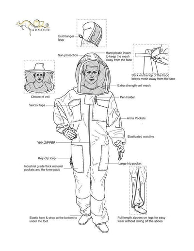 OZ ARMOUR Khaki Poly Cotton Beekeeping Suit With Fencing Veil,Beekeeping,beekeeping gear,oz armour