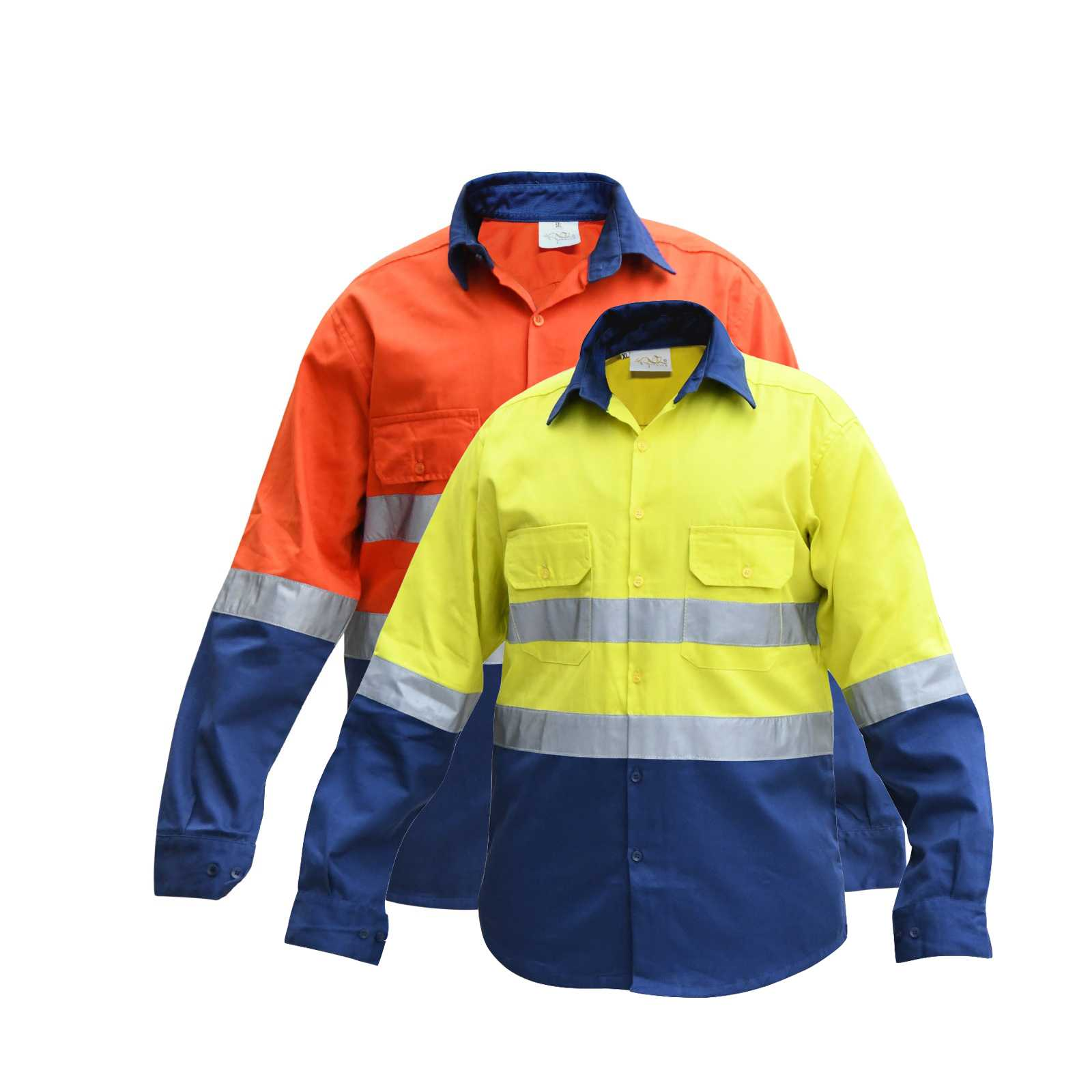 Premium Quality HI VIS OZ ARMOUR Work Shirts Super Heavy Duty Full Sleeves