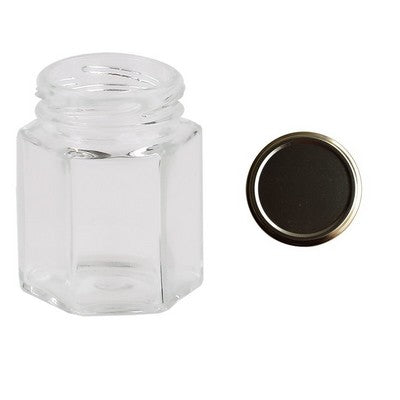 Hexagonal Glass Jars honey Containers 190 ml Golden lid
