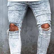 Fashion Broken Holes Denim Long Fitted Jeans