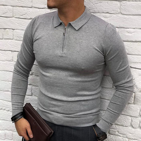 Men solid color lapel collar long sleeve shirt