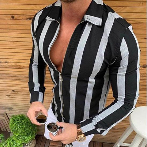Casual Striped Zipper Small Lapel Shirts