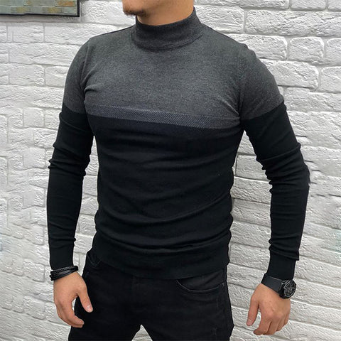 Men's Casual Colorblock Turtleneck Knitwear