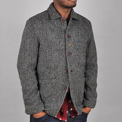 Men's Vintage Grey Lapel Button Jacket