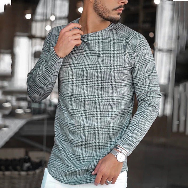 Men's Casual Long Sleeve Round Neck Plaid T-Shirt
