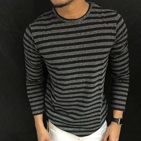 Men's casual striped crew neck T-shirt
