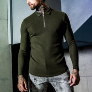 Casual solid colour long sleeves folding collar zip-up shirt