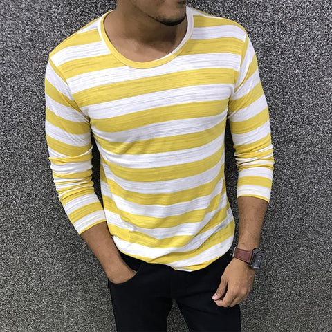 Men's Casual Round Neck Striped T-Shirt