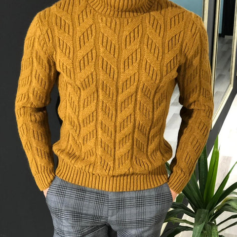 Men's Solid Color High-Collar Knitted Sweaters