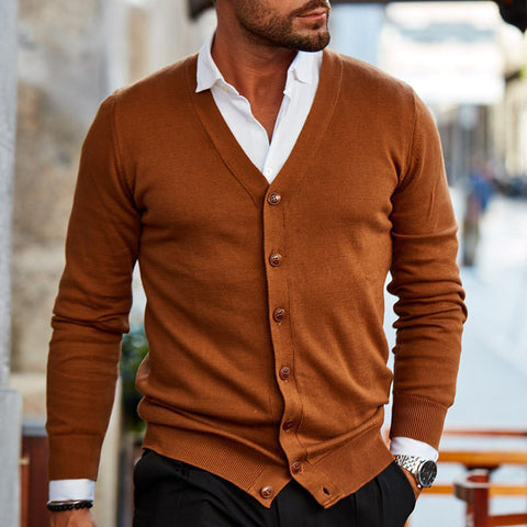 Mens fashion solid color button-knit cardigan
