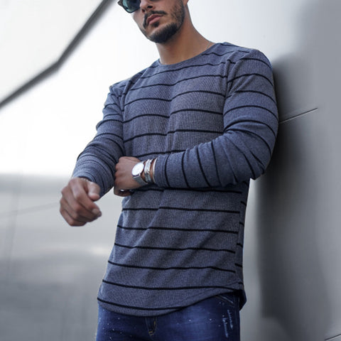 Men's Fashion Crew Neck Striped Long Sleeve T-Shirt