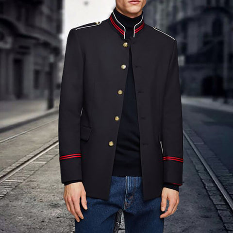 Fashion Long Sleeve Single-Breasted Stand Collar Jacket