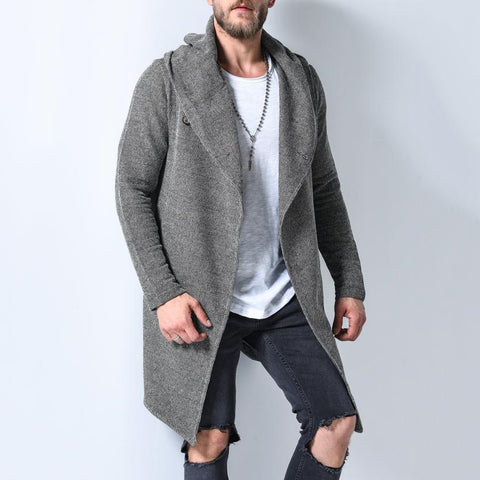 Men's Fashion Grey Overlapping Lapel Button Knit Cardigan
