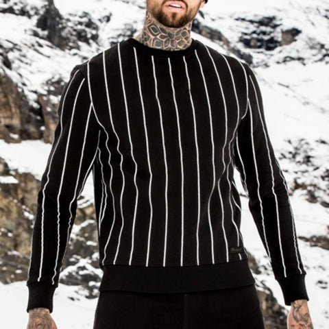 Leisure Round Neck Striped Long Sleeve Sweatshirt