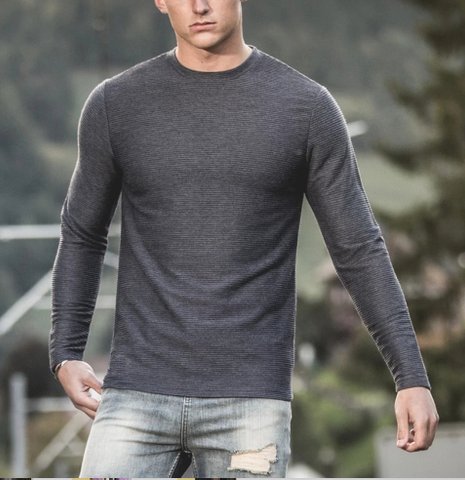 Mens Casual Round Neck Long Sleeve T-shirt