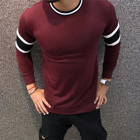 Men's Casual Round Neck Colorblock T-Shirt