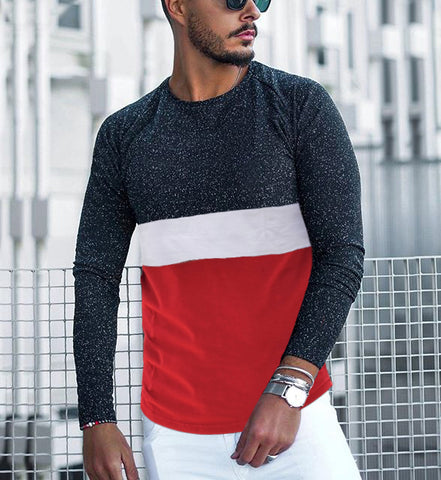Casual Colorblock Round Neck Long Sleeve T-Shirt