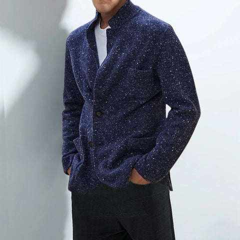 Casual stand collar blue sequin pocket long sleeve knit jacket